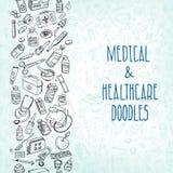 Fondo del garabato de la medicina Imagen de archivo libre de regalías