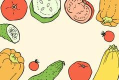 Fondo del garabato de los colores del vintage con pimientas, los tomates, Cucembers y calabazas Fotografía de archivo libre de regalías