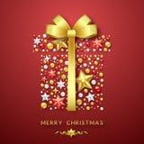 Fondo del giftbox de la Navidad con el arco brillante, las estrellas y las bolas coloridas Ejemplo de la tarjeta de la Feliz Navi Fotos de archivo libres de regalías