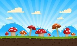 Fondo del gioco dei funghi Fotografia Stock Libera da Diritti