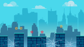 Fondo del gioco della città, con differenti piattaforme e strati separati per i giochi Illustrazione di vettore per la vostra acq Fotografia Stock
