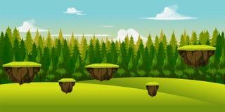 Fondo del gioco della collina e della foresta illustrazione vettoriale