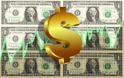 Fondo del gráfico del mercado del símbolo del dólar Foto de archivo