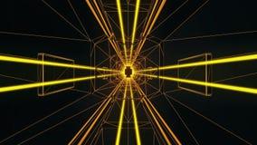 fondo del gráfico del movimiento de Loopable del túnel del estilo de Tron del oro 3D libre illustration