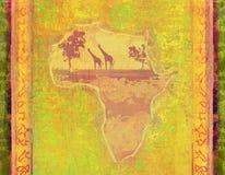 Fondo del Grunge con el continente africano Foto de archivo libre de regalías