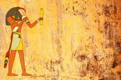 Fondo del Grunge con la imagen egipcia de Toth de dios imagen de archivo