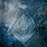 Fondo del Grunge con la muestra del freemason Foto de archivo