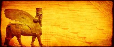 Fondo del Grunge con la textura y el lamassu de papel Foto de archivo