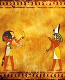 Fondo del Grunge con las imágenes egipcias Toth y Horus de dioses ilustración del vector