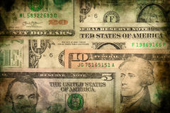 Fondo del grunge de la textura de los billetes de banco del dinero del dólar de los E.E.U.U. Fotos de archivo