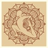 Fondo del grunge de la yoga Mandala oriental de la flor con la silueta del asana stock de ilustración