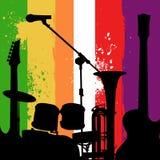 Fondo del grunge de los instrumentos de música Imagen de archivo