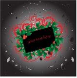 Fondo del grunge del acebo de la Navidad con remolinos ilustración del vector