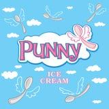 Fondo del helado ligero Logotipo del helado o plantilla del icono Foto de archivo