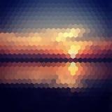 Fondo del hexágono de la puesta del sol ilustración del vector