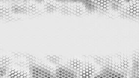 Fondo del hexagrid de BW con el lugar para el texto o el logotipo Movimiento de ondas lento bucle almacen de video