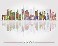 Fondo del horizonte con la arquitectura de Nueva York libre illustration