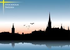 Fondo del horizonte de Estocolmo Foto de archivo