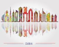 Fondo del horizonte de la ciudad de Dubai stock de ilustración