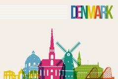 Fondo del horizonte de las señales del destino de Dinamarca del viaje ilustración del vector