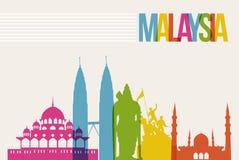 Fondo del horizonte de las señales del destino de Malasia del viaje Imágenes de archivo libres de regalías