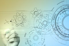 Fondo del interfaz de la tecnología con el proyecto de los engranajes Concepto de la ingeniería, del negocio, del desarrollo y de fotografía de archivo