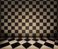 Fondo del interior del tablero de ajedrez de la sepia Fotos de archivo
