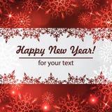 Fondo del invierno con el espacio para su texto Papá Noel en un trineo Marco del Año Nuevo con los copos de nieve Plantilla del i Imagenes de archivo