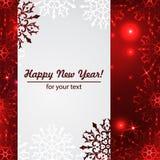 Fondo del invierno con el espacio para su texto Papá Noel en un trineo Marco del Año Nuevo con los copos de nieve Plantilla del i Imagen de archivo
