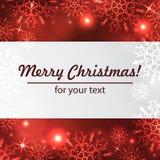 Fondo del invierno con el espacio para su texto Papá Noel en un trineo Marco del Año Nuevo con los copos de nieve Plantilla del i Fotografía de archivo