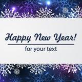 Fondo del invierno con el espacio para su texto Papá Noel en un trineo Marco del Año Nuevo con los copos de nieve Plantilla del i Imágenes de archivo libres de regalías
