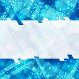 Fondo del invierno con el espacio para su texto Papá Noel en un trineo Marco del Año Nuevo con los copos de nieve Plantilla del i Fotos de archivo libres de regalías