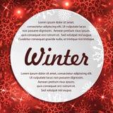 Fondo del invierno con el espacio para su texto Papá Noel en un trineo Marco del Año Nuevo con los copos de nieve Plantilla del i Foto de archivo libre de regalías