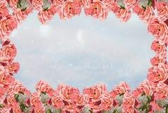 Fondo del invierno con el marco de rosas escarchadas fotos de archivo