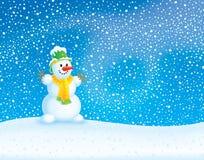 Fondo del invierno con el muñeco de nieve Fotos de archivo libres de regalías