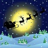Fondo del invierno con el trineo de Santa ilustración del vector