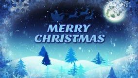 Fondo del invierno con Feliz Navidad del texto almacen de metraje de vídeo