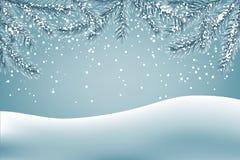 Fondo del invierno con las ramas de la nieve que caen y del abeto ilustración del vector