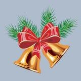 Fondo del invierno con las ramitas spruce y las chucherías rojas Ilustración del vector de la Navidad Imágenes de archivo libres de regalías