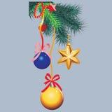 Fondo del invierno con las ramitas spruce y las chucherías rojas Ilustración del vector de la Navidad Foto de archivo libre de regalías