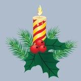 Fondo del invierno con las ramitas spruce y las chucherías rojas Ilustración del vector de la Navidad Fotografía de archivo libre de regalías