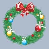 Fondo del invierno con las ramitas spruce y las chucherías rojas Ilustración del vector de la Navidad Imagenes de archivo