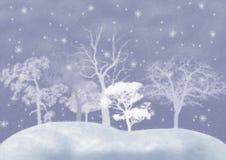 Fondo del invierno con los árboles nevados. Imagen de archivo