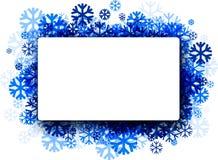 Fondo del invierno con los copos de nieve azules Fotografía de archivo