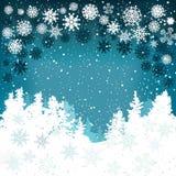 Fondo del invierno con los copos de nieve y los árboles de navidad Foto de archivo libre de regalías