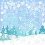 Fondo del invierno con los copos de nieve y los árboles de navidad Imagen de archivo libre de regalías