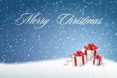 Fondo del invierno con nieve Regalo Boxes Ejemplo defocused azul de la Navidad Imagenes de archivo