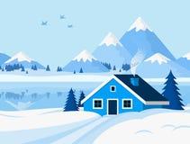 Fondo del invierno con paisaje de la montaña en estilo plano ilustración del vector