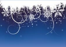 Fondo del invierno, copos de nieve ilustración del vector