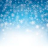 Fondo del invierno de la Navidad de los copos de nieve del cielo azul ilustración del vector